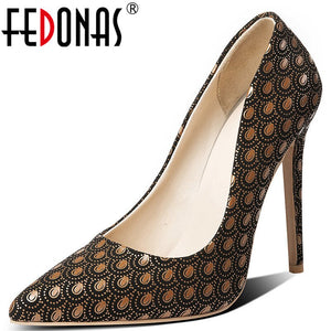 FEDONAS Peacock Patt Office Lady Pumps Women Spring Autumn Buckle Plus Size Wedding  Party Shoes Woman Sexy Super High Heeled