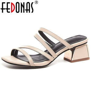 FEDONAS Brand 2019 Summer New Concise Thin Strap Women Sandals Solid Genuine Leather Slip on Hoof Heels Party Casual Shoes Woman