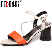 Load image into Gallery viewer, FEDONAS Summer New Fashion Casual Women Cow Leather Sandals Mixed Colors Narrow Band Front & Rear Strap Comfortable Shoes Woman