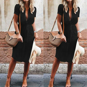 Summer Dress 2019 Casual Button V Neck Ladies Dresses Women Dresses Evening Party Clothes Loose Sundress Solid Color Woman Dress
