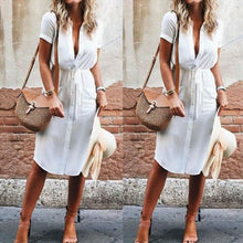 Load image into Gallery viewer, Summer Dress 2019 Casual Button V Neck Ladies Dresses Women Dresses Evening Party Clothes Loose Sundress Solid Color Woman Dress
