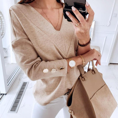 2019 Women Pullover Blouse Winter Long Sleeve Fashion V Neck Tops Ladies Casual Knitting Khaki Blouse Shirt blusas mujer
