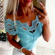 Load image into Gallery viewer, Summer Women Blouse Tops Boho Off Shoulder Top Lace Blouse Casual Blouses Womens Tops And Blouses Solid Color Women V Neck Shirt