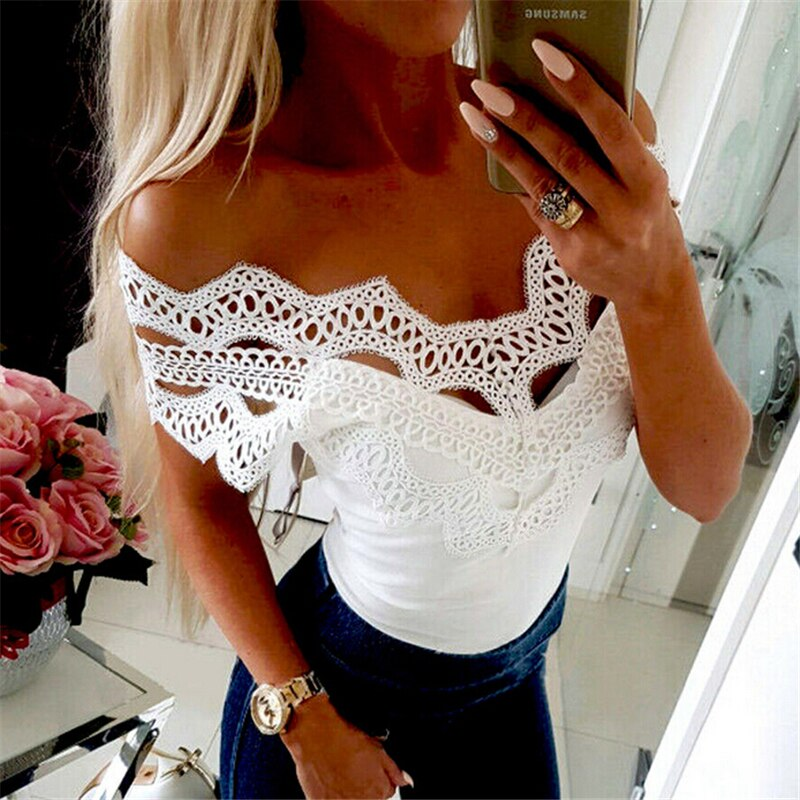 Summer Women Blouse Tops Boho Off Shoulder Top Lace Blouse Casual Blouses Womens Tops And Blouses Solid Color Women V Neck Shirt