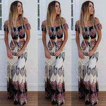 Load image into Gallery viewer, Boho Print Summer Women Sexy Strapless Two Piece Set Slash Neck Short Sleeve Crop Tops&Long Skirts Beach Maxi Skirts Suit