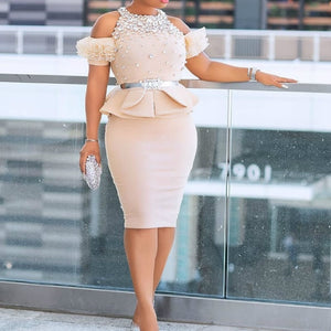 Women Two Pieces Set Blouses Tops and Pencil Skirt Cold Shoulder with Waist Belt Ruffles African Female Fashion Party Celebrate
