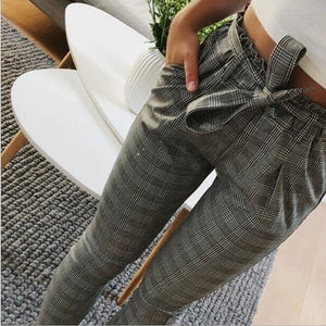 Casual Striped OL Pants Women Trouser High Waist Pant Pantalon Femme Bow Tie Pocket Pencil Pants Pantalones Mujer Cintura Alta