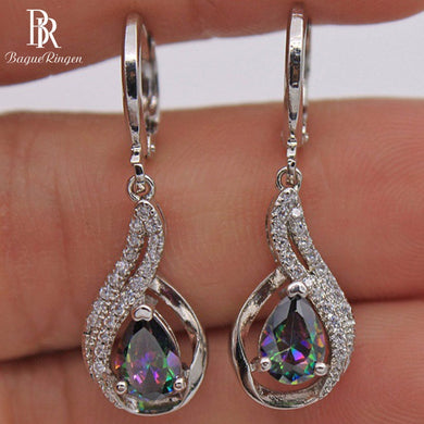 Bague Ringen Fashionable Silver 925 Jewelry Rainbow Topa Stone Earrings for Women Water Drop Shape Drop Earrings