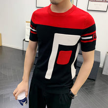 Load image into Gallery viewer, Summer Dress Short Sleeve Male Knitting Tshirt Tee Jacquard Weave High Quality Streetwear Round Sleeve T-shirt Camisetas Hombre