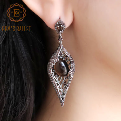 GEM'S BALLET Natural Smoky Quartz Vintage Long Earrings 925 Sterling Sliver Gothic Coffee Drop Earrings For Women Anniversary