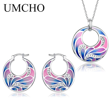 UMCHO 925 Sterling Silver Emerald Jewelry Sets for Women Gemstone Ring Pendant Necklace Women Wedding Party  Gift Jewelry