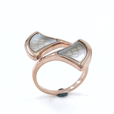Italian Quality Design Mother Of Pearl Gemstone Silver Ring