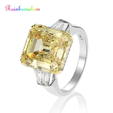 Rainbamabom 925 Solid Sterling Silver Created Moissanite Sapphire Citrine Wedding Engagement Cocktail Couple Ring Fine Jewelry