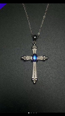 natural blue moonstone Elegant lovely personality cross Pendant natural gemstone pendant S925 silver Women precious jewelery