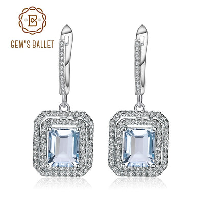 Gem's Ballet Natural Sky Blue Topaz Drop Earrings Genuine 925 Sterling Silver Vintage Earrings For Women Fine Jewelry