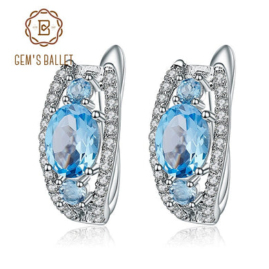 Gem's Ballet 3.79Ct Oval Natural Swiss Blue Topaz Gemstone Stud Earrings 925 Sterling Silver Fine Jewelry for Women Earrings