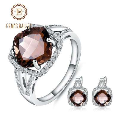GEM'S BALLET 9.6Ct Natural Smoky Quartz Jewelry Set For Women Wedding 925 Sterling Silver Earrings Ring Set Extravagant Fine