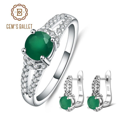 GEM'S BALLET Round 0.81ct Green Agate Rings Clip Earrings 925 Sterling Silver Natural Gemstone Fine Jewelry Set For Women Gift