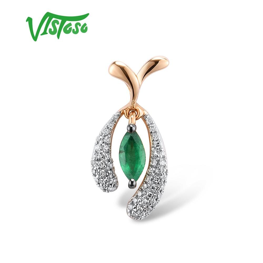 VISTOSO Gold Pendants For Women Pure 14K 585 Rose Gold Natural Emerald Sparkling Diamond Wedding Fine Jewelry