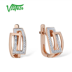 VISTOSO Gold Earrings For Women Genuine 14K 585 Rose Gold Sparkling Diamond Exquisite Anniversary Wedding Band Fine Jewelry