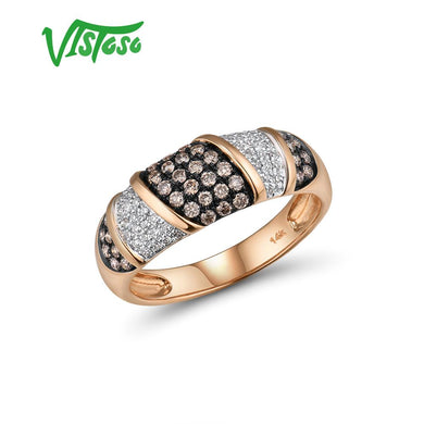 VISTOSO Pure 14K 585 Rose Gold Starry Diamond Brown Diamond Delicate Ring For Women Anniversary Engagement Trendy Fine Jewelry