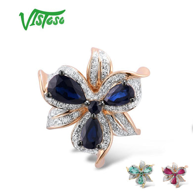 VISTOSO Gold Pendant For Women Genuine 14K 585 Rose Yellow Gold Sparkling Diamond Blue Sapphire Emerald Ruby Fine Jewelry