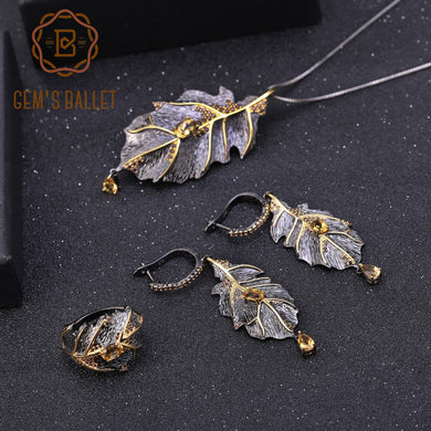 GEM'S BALLET 925 Sterling Silver Handmade Natural Citrine Leaves Ring Earrings Pendant Jewelry Set For Women Georgia O'keeffe