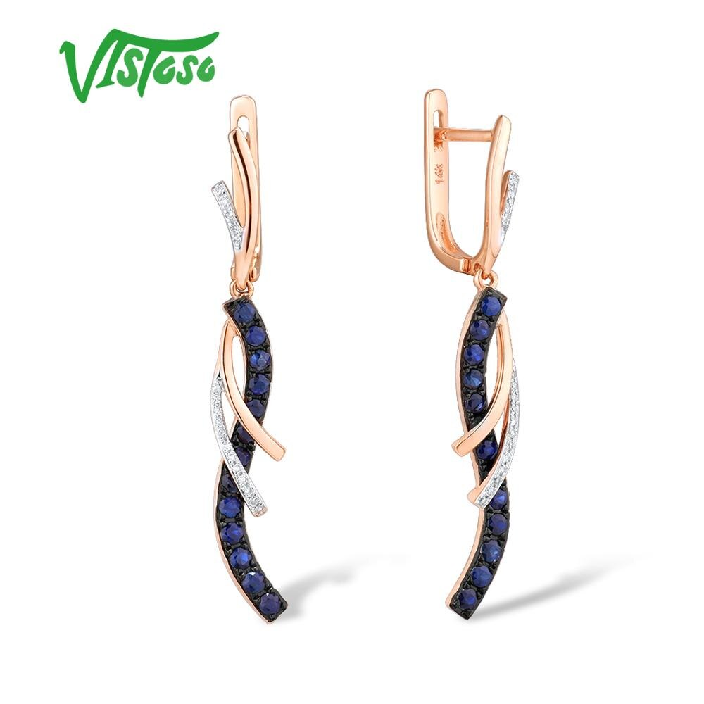 VISTOSO Gold Earrings For Women Authentic 14K 585 Rose Gold Sparkling Diamond Shiny Blue Sapphire Dangling Earrings Fine Jewelry