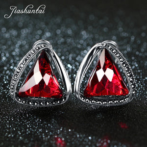 JIASHUNTAI Vintage 100% 925 Sterling Silver Clip Earrings For Women Retro Natural Precious Stones Thai Silver Earring Jewelry