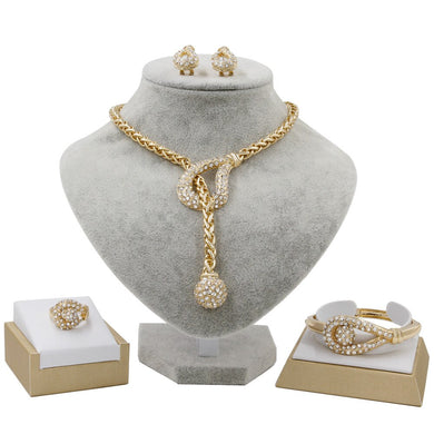 Arabian Jewelry Pendant New Woman Gold Jewelry Sets Necklace Earrings Bracelet Ring