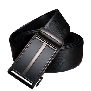 Hi-Tie 3+2 Gift Belt Box Set Men's Genuine Leather Black Belt Brand Designer Automatic Buckles Belt Metal Ratch Belt for Mens