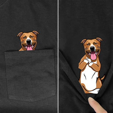 German Shepherd In Pocket T Shirt Dog Lovers Black Cotton Men Made in USA Cartoon t shirt men Unisex New Fashion tshirt style-13