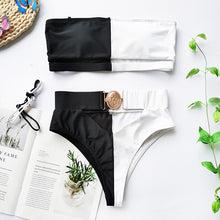 Load image into Gallery viewer, Mossha Hollow out White swimwear woman High waist bikini 2020 Mujer Metal Buckle belt swimsuit women biquini female bathing suit