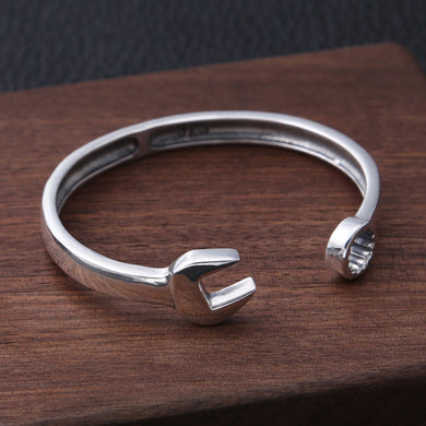Genuine 925 Sterling Silver Personality Retro Wrench Bracelet Thai Silver Fashion Simple Opening Bracelet Creative Gift
