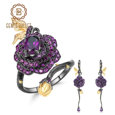 GEM'S BALLET 925 Sterling Silver Adjustable Ring Earrings Set 2.18Ct Natural Amethyst Handmade Rose Flower Jewelry Set For Women