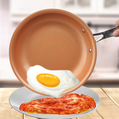Non-stick Skillet Copper Red Pan Ceramic Induction Skillet Frying Pan Saucepan Oven & Dishwasher Safe 10 Inches Nonstick Skillet