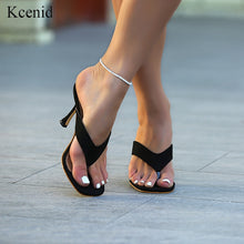 Load image into Gallery viewer, Kcenid 2020 New ladys summer slippers flip flops high heels square toe solid black slippers-women slides shoes big size 41 42