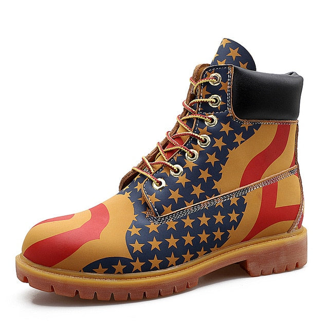 Men Genuine Leather Winter Boots Fashionable American Flag Leather Work Boots Ankle