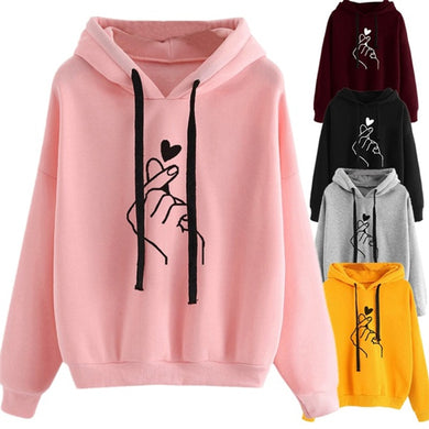 Plus Size Pullovers Girls Long Sleeve Spring Autumn Winter Striped Women Sweatshirt And Hoody Ladies Hooded Love Printed Casual