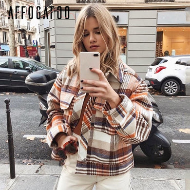 Affogatoo Vintage casual plaid autumn winter jackets coat women Long sleeve outwear female coat Streetwear oversize ladies coats