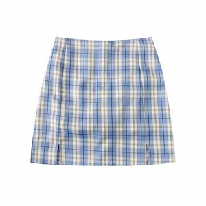 Women Split Details Plaid Mini Skirt with Under Shorts Mini Skort In Check
