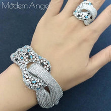 Load image into Gallery viewer, ModemAngel Newest Famous Brand Luxury Winding Cross Geometry Cubic Zironia CZ Jewelry Sets Women Wedding Bridal Bangle Ring Set