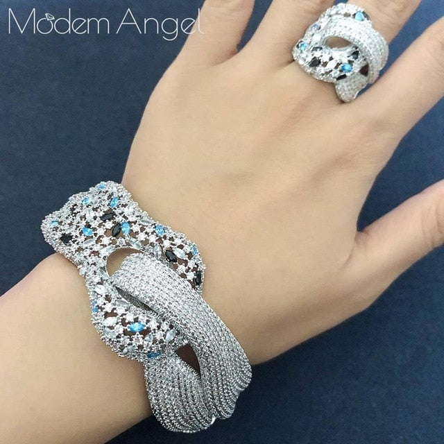 ModemAngel Newest Famous Brand Luxury Winding Cross Geometry Cubic Zironia CZ Jewelry Sets Women Wedding Bridal Bangle Ring Set
