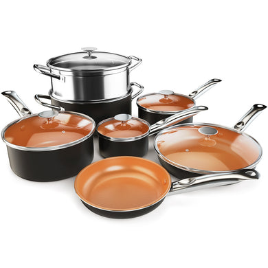Costway 12 Piece Nonstick Cookware Set Copper Pots Pans Set