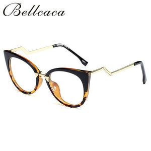 Bellcaca Eyeglasses Spectacle Frame Women Cat Eye Computer Optical Glasses Myopia For Ladies Female Transparent Clear Lens BC139 - Y O L O Fashion Store