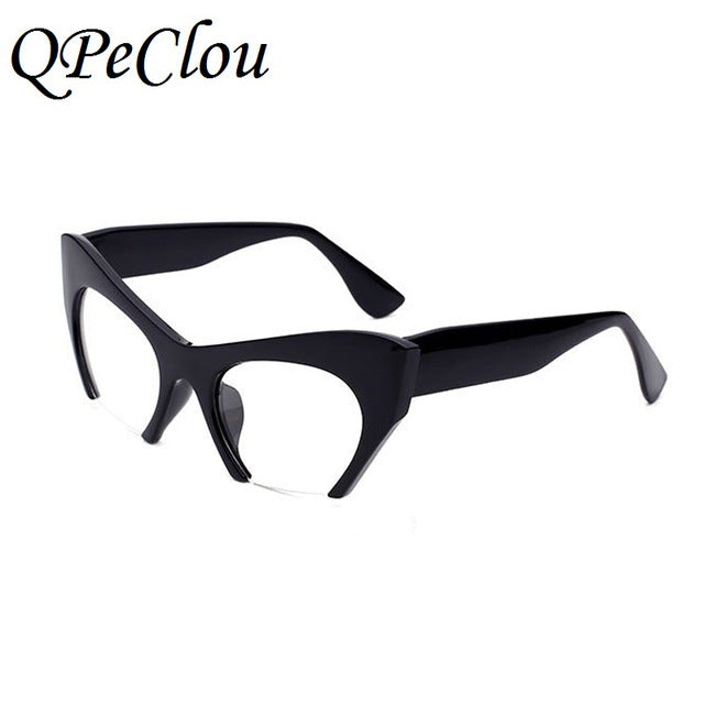 QPeClou Small Half Frame Cat Eye Glasses Frame Women Brand Vintage Cateye Clear Lens Glasses Ladies Oculos 2017 Eyeglasses Frame - Y O L O Fashion Store