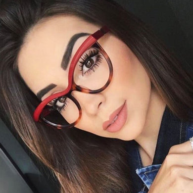 QPeClou Cat Eye Leopard Glasses Frame Women Brand Unique Stereoscopic Eyeglasses Frame Female Clear Lens No Degree Oculos UV400 - Y O L O Fashion Store