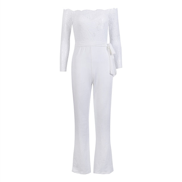 hirigin Newest Women Lace Floral White Color Long Sleeve Jumpsuit Romper Clubwear Playsuit Bodycon Party Trousers female - Y O L O Fashion Store