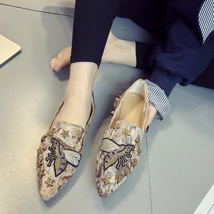 2018 spring summer women Flat shoes suede embroidered animal shoes woman slip on point toe loafers rivets fashion ladies Shoes - Y O L O Fashion Store