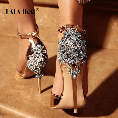 LALA IKAI Women Crystal Glitter Sandals Pump 2018 High Heels 11CM Sandals Lady Chic Cover Heel Party Sexy Shoes 014C1195 -4
